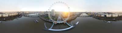 360° AERIAL PANORAMA OF THE LONDON EYE