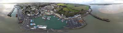 360° AERIAL PANORAMA OF PADSTOW FISHING VILLAGE IN CORNWALL